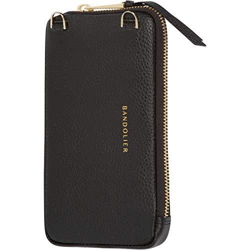 Bandolier Expanded Zip Pouch - Black Pebble Leather with Gold Detail - Compatible with All Bandolier Phone Cases