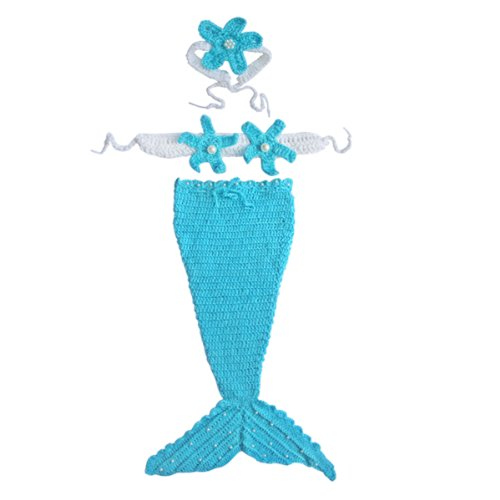 [iEFiEL Baby Girls Ocean Mermaid Crochet Knit Photo Prop Blue SZ 0-12 Months] (Ariel Blue Dress Costumes)