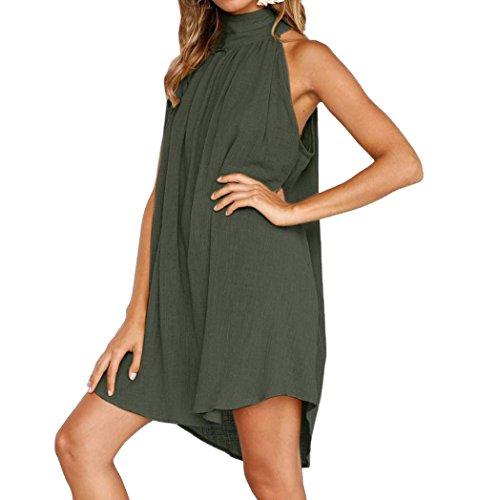 t Femmes Irrgulier Court Robe Casual Col Rond sans Manches Robe de Plage Couleur Unie Plisse Robes de Fte Soire Vert