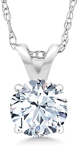 Gem Stone King 14K White Gold White Created Sapphire Pendant Necklace For Women Anniversary Birthday Gifts Her Wife Mom Yourself (1.20 Ct with 18 Inch Gold Chain)