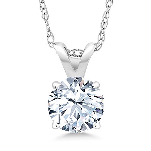 1.20 Ct White Created Sapphire 14K White Gold Pendant With Chain by Gem Stone King