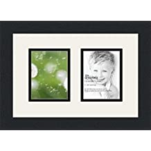 ArtToFrames Double-Multimat-43-61/89-FRBW26079 Collage Photo Frame Double Mat with 2-4x5 Openings and Satin Black Frame, Super White, 2-4x5