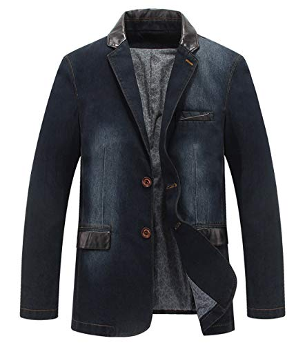 Itemnew Man's Sports Notched Collar 2 Button Slim Distressed Denim Blazer Jacket Leather Trim (Large, Dark Blue) ()