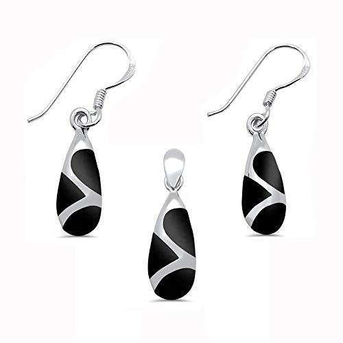 Oxford Diamond Co Sterling Silver Simulated Black Onyx Teardrop Shape Dangle Earring & Pendant Set