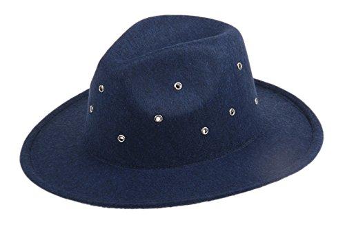 Dantiya Women's Wide Brim Wool Fedora Panama Hat with Belt (2-Navy)