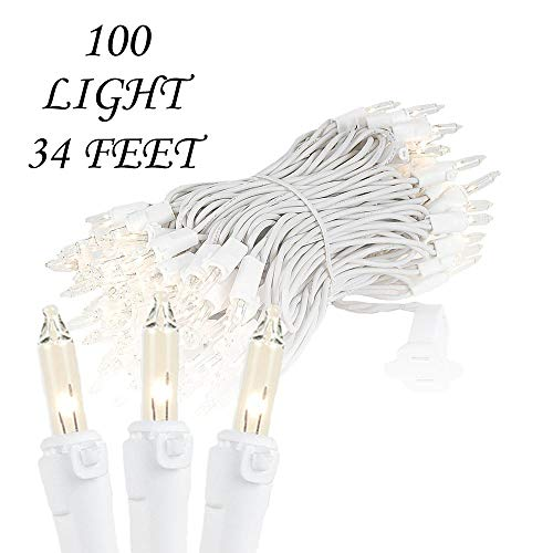 (Novelty Lights 100 Light Clear Christmas Mini Light Set, White Wire, 34')