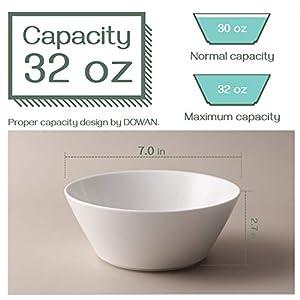 DOWAN Ceramic Soup Bowls, 32 Ounces White Ramen Bowl for Noodle, Porcelain Salad Bowls Set of 4, Large Cereal Bowls for…