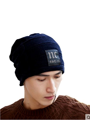 [Ericoco Adult's Double Sides&Fleece Thick Slouchy Knit Oversized Beanie Cap Hat] (Black Russian Male Adult Costumes)