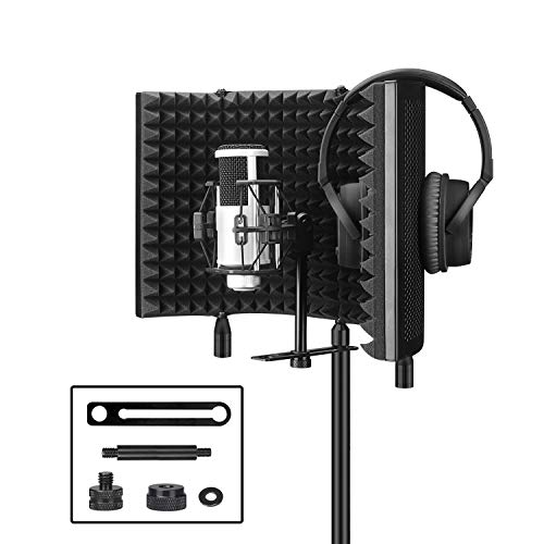 (Pop Filter,Aokeo Premium Microphone Isolation Shield, Foldable Adjustable Studio Recording Microphone Isolator Panel, Constructed with Industrial Quality Aluminum (AO-504))