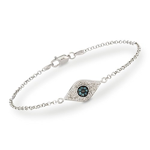 Ross-Simons 0.20 ct. t.w. Evil Eye Diamond Bracelet in Sterling Silver