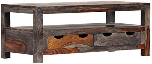 FAMIROSA Coffee Table Gray 39.4″x19.7″x15.7″ Solid Sheesham Wood - a good cheap living room table