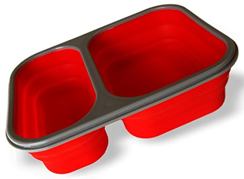 Collapsible Lunch Box - Silicone Food Container Combo with Spork - Large 2 Compartment - On-the-go Convenience