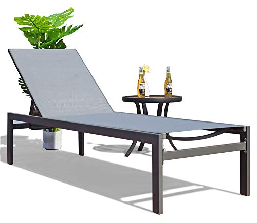 - Kozyard Modern Full Flat Alumium Patio Reclinging Adustable Chaise Lounge with Sunbathing Textilence for All Weather, 5 Adjustable Position, Very Light, Anti-Rusty
