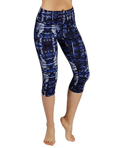 ODODOS Power Flex Printed Yoga Capris Tummy Control Workout Non See-Through Pants with Pocket,Indigo,Large