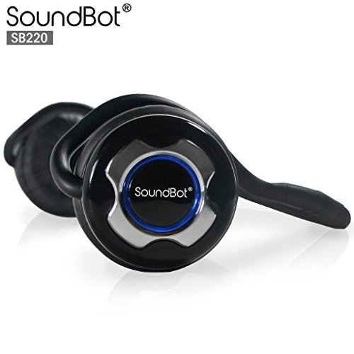 SoundBot SB220 Bluetooth Noise-Reduction Stereo Headphone for Music Stream & HandsFree Calling w/ 20 hrs Extended Talk and Playback Time, 400 hrs Standby time, Built-in Mic, A2DP, AVRCP, Chrome (Behind Mobile Neck Headphone)