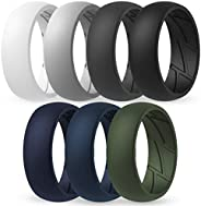ThunderFit Silicone Wedding Rings for Men Breathable Airflow Inner Grooves - Breathable Edition Rubber Engagem