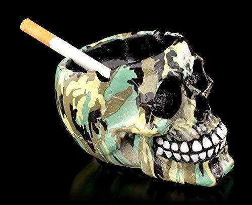 Figuren Shop Gmbh Petit Coloré Tête de Mort Gothique Cendrier Im Tarnlook - Camouflage Coloré Imprimé