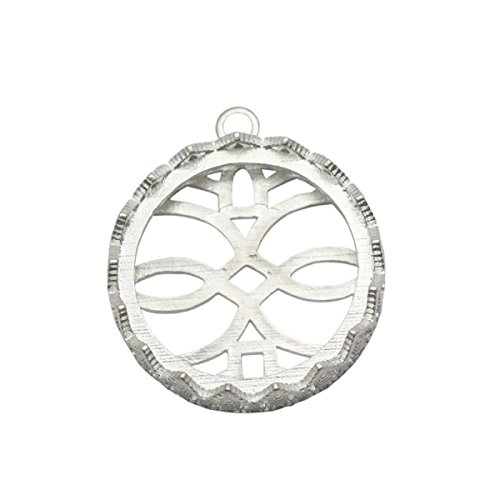 925 Sterling Silver Pendant Trays Bezel Cups Lace Edge Pendant Settings Diy Christmas Gift (25×25mm) (Lace Silver Sterling)