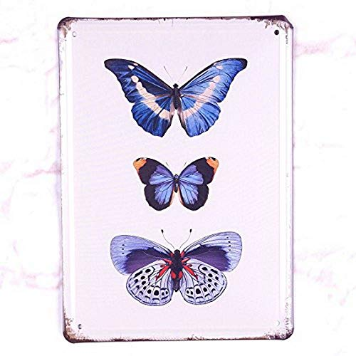 Ugtell Whiskey Tin Signs Blue Series Butterfly Metal Tin Signretro Home Pub Bar Wall Decor Art Poster Accent Pieces (Map Of Route 66 Start And End)