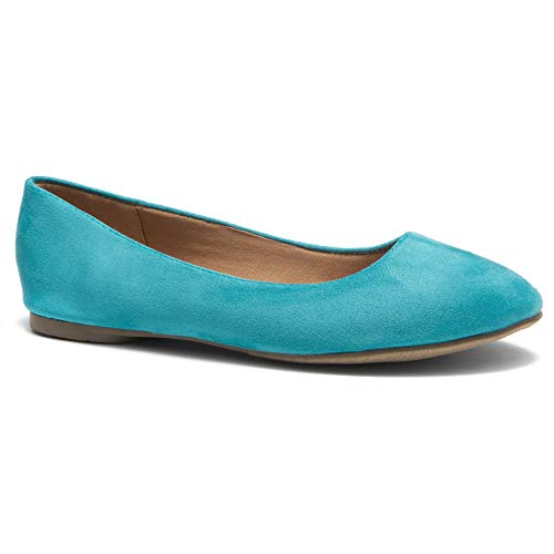 Herstyle Ever Memory Round Toe Ballet Flat ShoesTeal IM -