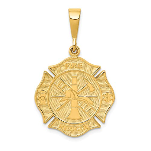 14k Yellow Gold Fire Rescue Pendant Charm Necklace Career Professional Firefighter Fine Jewelry For Women Gift Set