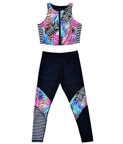 ZOYOL-YT Los pantalones femeninos del traje de baño de los deportes fueron finos conservadores con el cojín del pecho Traje de baño caliente de la playa de la playa