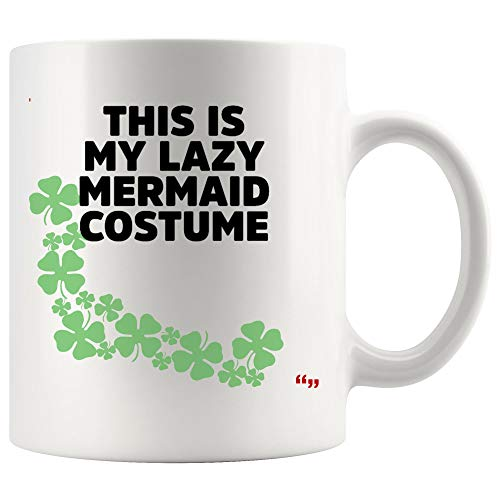 Funny Cup Coffee Mug for Men Women This Is Lazy Mermaid Costume Hilarious Halloween Joke Novelty Gifts for Friend]()