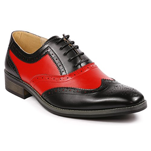 Metrocharm MC118 Men's Two Tone Perforated Wing Tip Lace Up Oxford Dress Shoes (10.5, Black Red)
