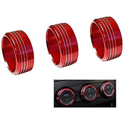 VORCOOL 3pcs Red Anodized Aluminum AC Climate Control Knob Ring Covers For Subaru WRX STI Impreza Forester XV Crosstrek (Red): Automotive