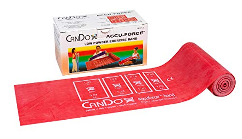 FEI 10-5912 Can-Do AccuForce Exercise Band Roll with Dispenser Box, Light, 6 yd. Length, Red