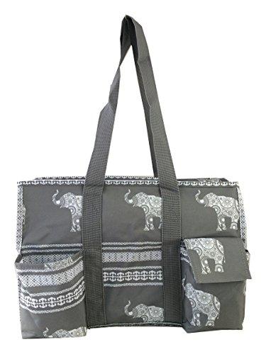 7-Pocket Tote Bag With Zipper (Gray Elephant)