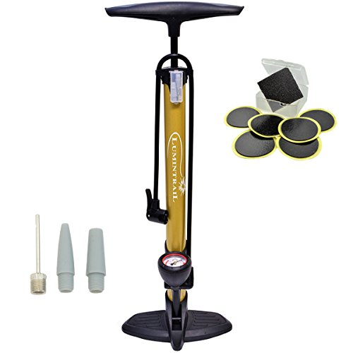 Lumintrail 160 PSI High Pressure Dual Valve Bike Floor Pump with Gauge Presta Schrader Dunlop Plus Bonus Glueless Puncture Patch Kit (Gold)