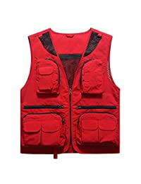 Vest Spring and Summer Thin Section Fishing Vest V-Neck Male Youth Multi-Pocket Vest Sleeveless Vest Shoulder Tooling Male Blouse ZHJING (Color : Red, Size : M)