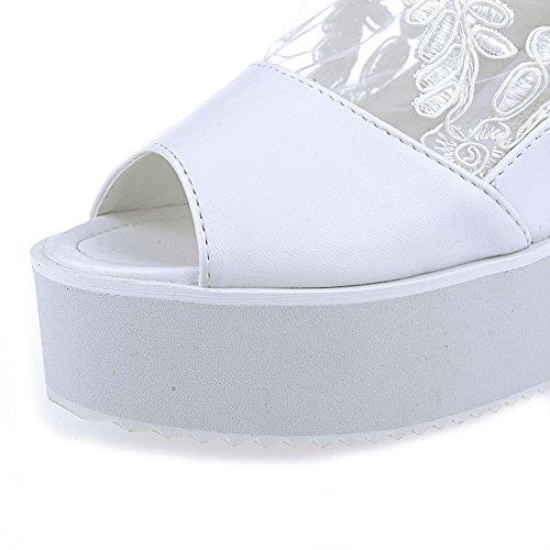 Amoonyfashion Femmes Talons Hauts Matériau Souple Solide Fermeture Éclair Peep Toe Sandales Blanc