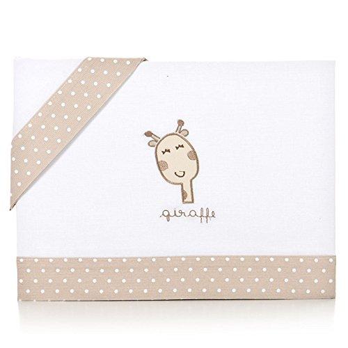 Piccolandy - Sábanas minicuna bebé con diseño giraffe, color beige Artemur