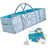 Diaper Caddy by OVIDDO   Extendable Baby Organizer with 13 Compartments and Water Resistant Interior Lining   Large Baby Basket and Nursery Organizer one of The Best Baby Shower Gifts - Blue