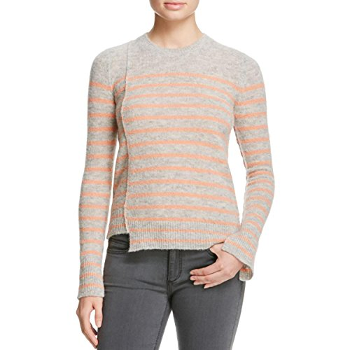 Blend Striped Crewneck Sweater (Elizabeth and James Womens Owen Wool Blend Striped Crewneck Sweater Gray XS)