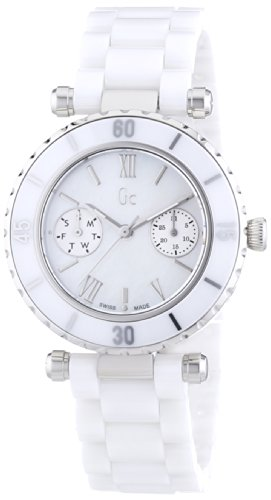 Guess Collection Women Analog Swiss Quartz Watch with White Ceramic Bracelet and Mother of Pearl Dial I35003L1S Gc Diver Chic Sport Chic Collection ()