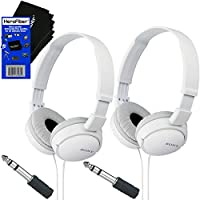 Sony MDRZX110 ZX Series Stereo Headphones (White) with 3.5mm Mini Plug to 1/4 inch Headphone Adapter & HeroFiber® Ultra Gentle Cleaning Cloth (2 Pack)
