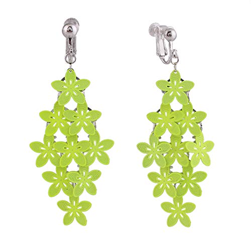 HAPPYAN Handmade Mulit-layer Clip On Earrings for Women & Clip-Ons Lightweight flower Leaf Dangle Earrings (Fluorescent Green Clip)