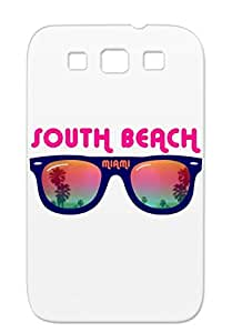 Drop Resistant South Beach Miami Navy For Sumsang Galaxy S3 Palms Surf Illustration Gifts Ideas Summertime Photography Skateboard Sun Art Design Vacation Palm Skateboarding Holiday Summer Surfing Holidays South Beach Gift Idea Florida Graphic Miami Fashion Protective Hard Case