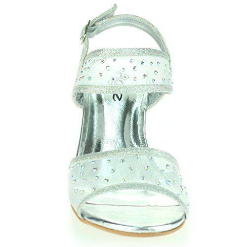 Mujer Señoras Medio Tacón de Cuña Diamante Detalle Slingback Verano Noche Fiesta Boda Prom Nupcial Sandalias Zapatos Talla Plata