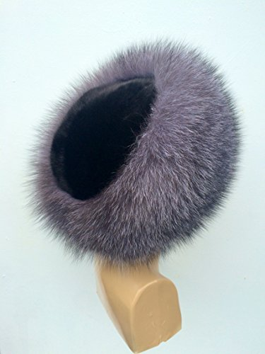 Silver Fox Blue Frost Fur Hat with Sheared Beaver on Top For Ladies (Beaver Top Hat)