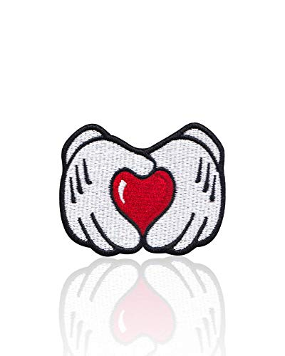 (Mickey Mouse Heart Hands Iron on & Sew on Embroidered Applique Decoration DIY Craft for Tshirts, Denim Jackets, Hats, Bags, White, Red)