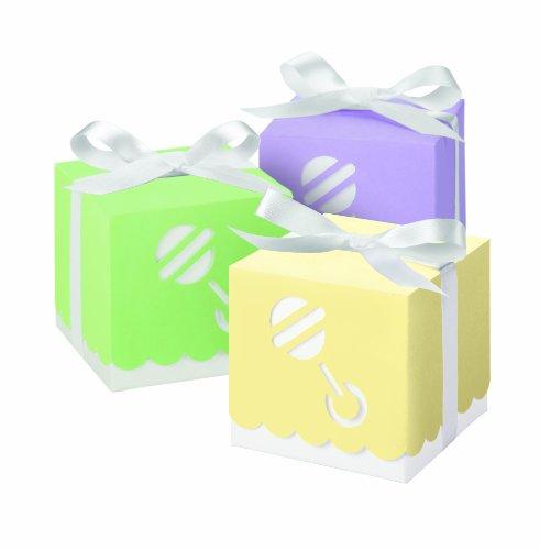 Wilton 415-0506 Assorted Pastel Die Cut Rattle Square Box Favor Kit, 25 Count