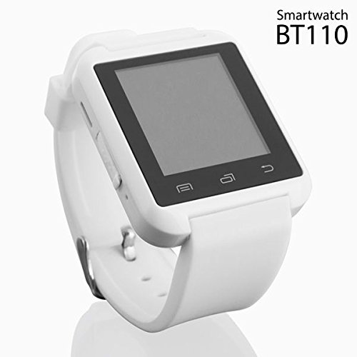 Elegant White Android Smartwatch with Audio, SMS WhatsApp & Social Media Notifications, Alarm, Sleep Monitor, Music, Chronometer, Barometer, Altimeter, & Pedometer by BT110