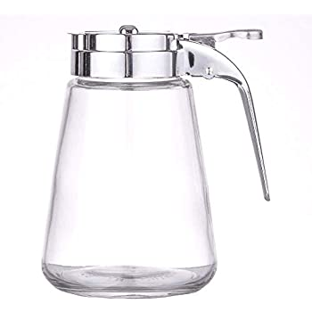 Glass Bulb Jar Syrup Dispenser Great Credentials 6 Oz. Ounce Pancake House Style set of 2 Retracting Spout Dispensing Thumb-Lever Sugar Dispenser