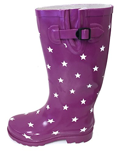G4U Womens Rain Boots Multiple Styles Color Mid Calf Wellies Buckle Fashion Rubber Knee High Snow Shoes Purple/White Stars 3mbea