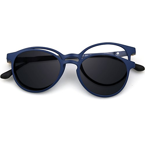 Hombres graduadas gafas magnético mujer para Round de gafas 2 en flexible ZENOTTIC gafas Marco polarizadas sol 1 Blue en gafas en C2 para ULTEM Frame Clip 7PWYI