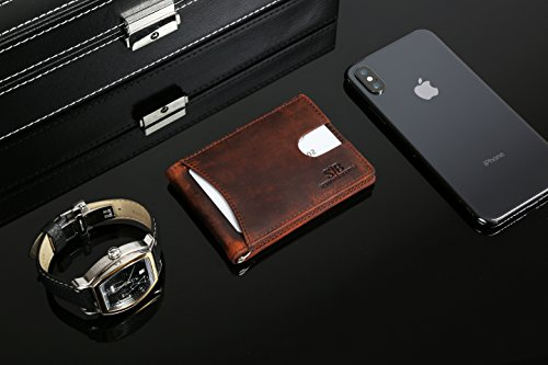 Travel Wallet RFID Blocking Bifold Slim Genuine Leather Thin Minimalist Front Pocket Wallets for Men Money Clip - Made From Full Grain Leather (Canyon Red 1.0) by SERMAN BRANDS (Image #4)
